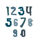 Creative handwritten colorful numbers set from 0 to 10, vector g — Stock Vector