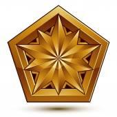 Kraliyet altın geometrik sembol, stilize altın yıldız, bizim için en iyi — Stok Vektör