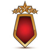 Heraldic 3d glossy icon with red filling, five pentagonal golden — Stock Vector