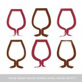 Set of hand-painted simple empty brandy glasses isolated on whit — Stock Vector