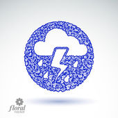 Thunder and lightning vector meteorology pictogram. Weather fore — Stock Vector