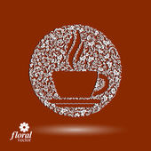 Flower-patterned cup of coffee with aromatic steam. Rendezvous t — Vector de stock