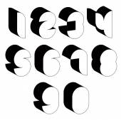 3d black and white futuristic numbers. — Stock Vector