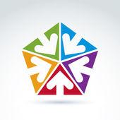 Vector abstract icon with five arrow, abstract symbol, design el — Stock Vector