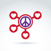 Round antiwar and love vector connected icons, peace and loving — Stock Vector