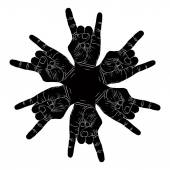 Six rock hands abstract symbol, black and white vector special e — Stock Vector
