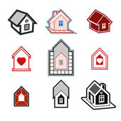 Simple cottages collection — Wektor stockowy