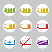 Batteries charge indicator icons — Vector de stock