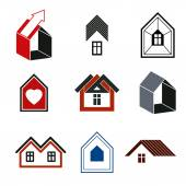 Houses abstract icons — Vector de stock