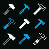 Repair instruments collection hammers — Stock Vector