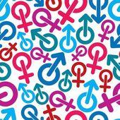 Gender symbols seamless backdrop. — Stock Vector