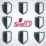 Grayscale defense shields, — Stock Vector #66332473