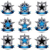 Set of silvery heraldic icons — Stock Vector