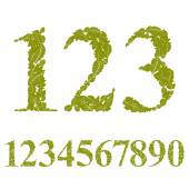 Numbers made with leaves — Stock Vector