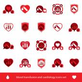 Cardiology and blood transfusion icons — Stock Vector