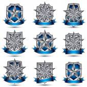 Set of silvery  glossy icons — Stock Vector