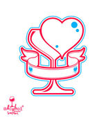 Wineglass withloving hearts. — Stock Vector