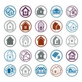 Different houses icons — Stockvektor