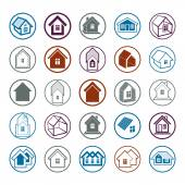 Different houses icons — Stock Vector