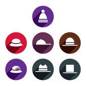 Headwear icons set. — Stock Vector