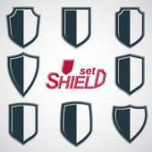 Grayscale defense shields, — Stock Vector