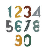 Doodle hand-painted numerals — Stock Vector