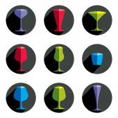 Colorful drinking glasses collection. — Stock Vector