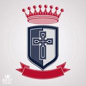 Royal shield with decorative band — Stock Vector