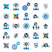 Gear system power development  icons — Stock Vector