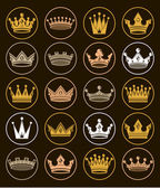 Set of golden royal crowns — Stock Vector