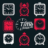 Squared 3d alarm clocks — Stock Vector
