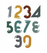 Handwritten colorful  numbers — Stock Vector