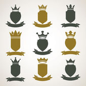 Heraldic royal blazon illustrations set — Stock Vector