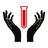Hands with test tube vector symbol. — Stock Vector