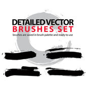 Set of highly detailed brush strokes — Stock Vector