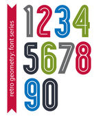 Multicolored poster classic style numbers — Stock Vector