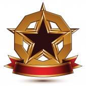 Símbolo redondo com estrela pentagonal — Vetor de Stock