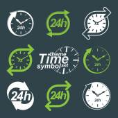 Set of graphic 24 hours timers — Stock Vector