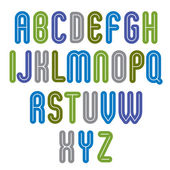 Rounded vivid striped distinct font — Stock Vector