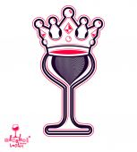 Elegant wineglass with king crown — Stock Vector