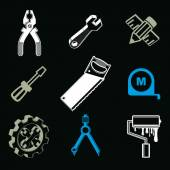 Set of 3d detailed tools — Stockvektor