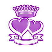 Two loving hearts with imperial crown — Stock Vector