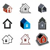 Simple cottages collection, real estate and construction theme. — Vector de stock
