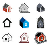 Simple cottages collection, real estate and construction theme. — Wektor stockowy