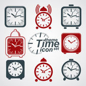 3d alarm clocks with clock bell — Stock Vector