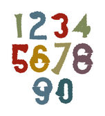 Multicolored handwritten numbers — Stock Vector