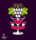 Martini glass with grapes vine — Stock Vector