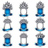 Silvery heraldic 3d glossy icons — Stock Vector