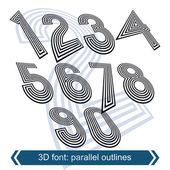 Geometric retro style graphic numbers — Stock Vector