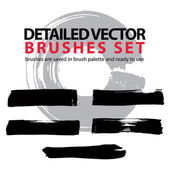 Collection of traced black brush strokes — Stock Vector